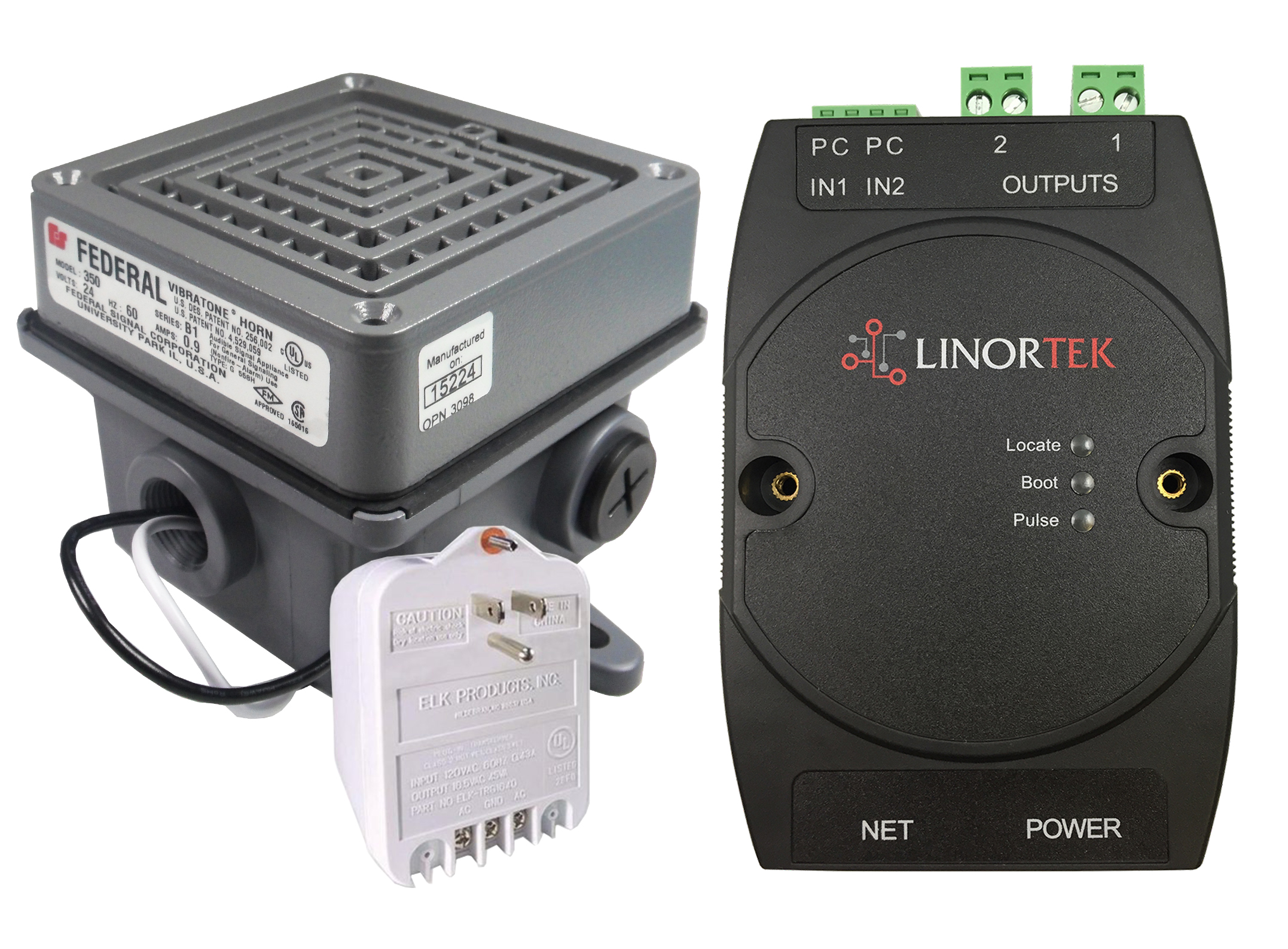 Netbell-2-1Buz TCP/IP Web-based Buzzer System Kit with One Federal Signal 350-024-30 Vibratone Horn