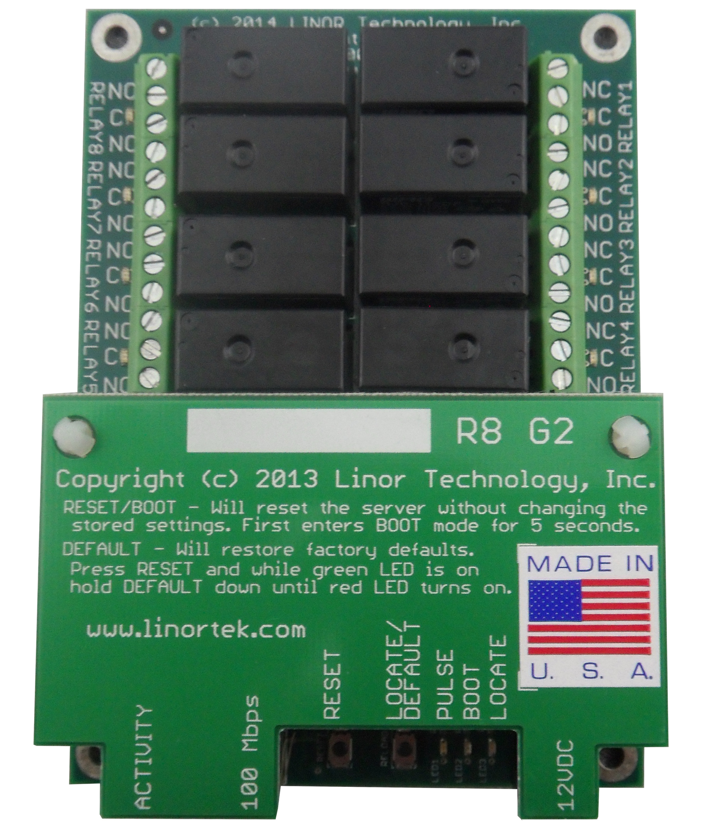 FARGO G2R8 Web Enabled TCP/IP Ethernet Relay Control Board 8 Relay Outputs