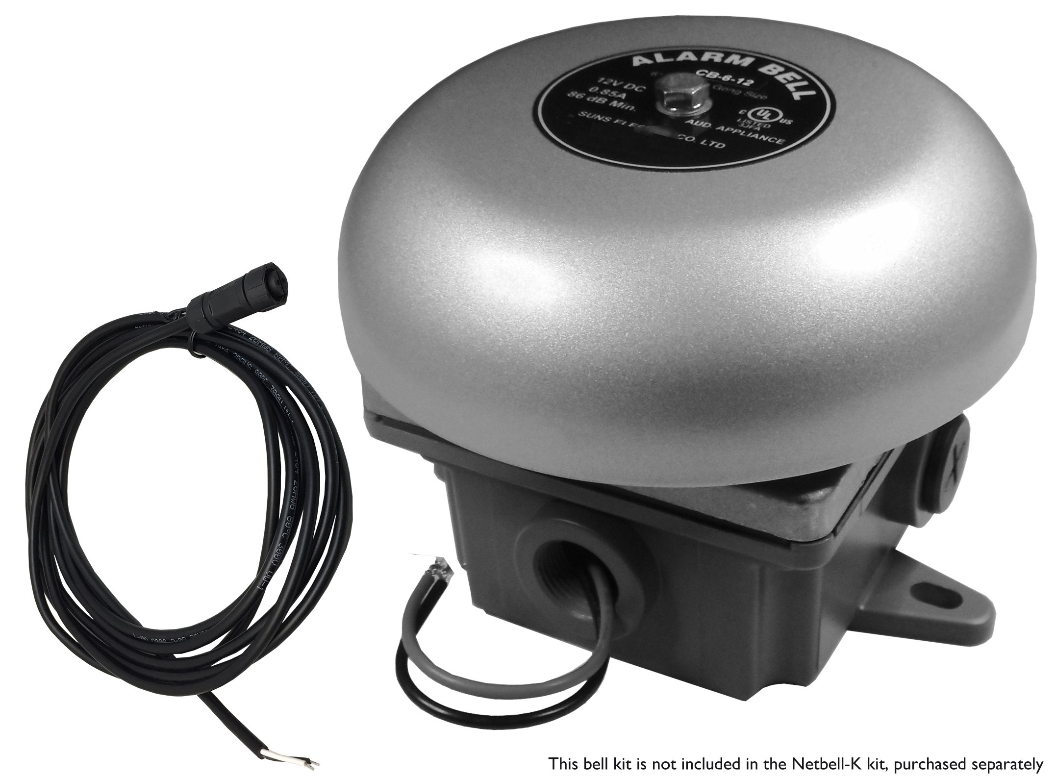 NETBELL-K EXTERNAL BELL KIT:  SIGNAL BELL 6 INCH WITH WEATHERPROOF BACK BOX AND POWER SUPPLY AND CP CONNECTOR BELL CABLE