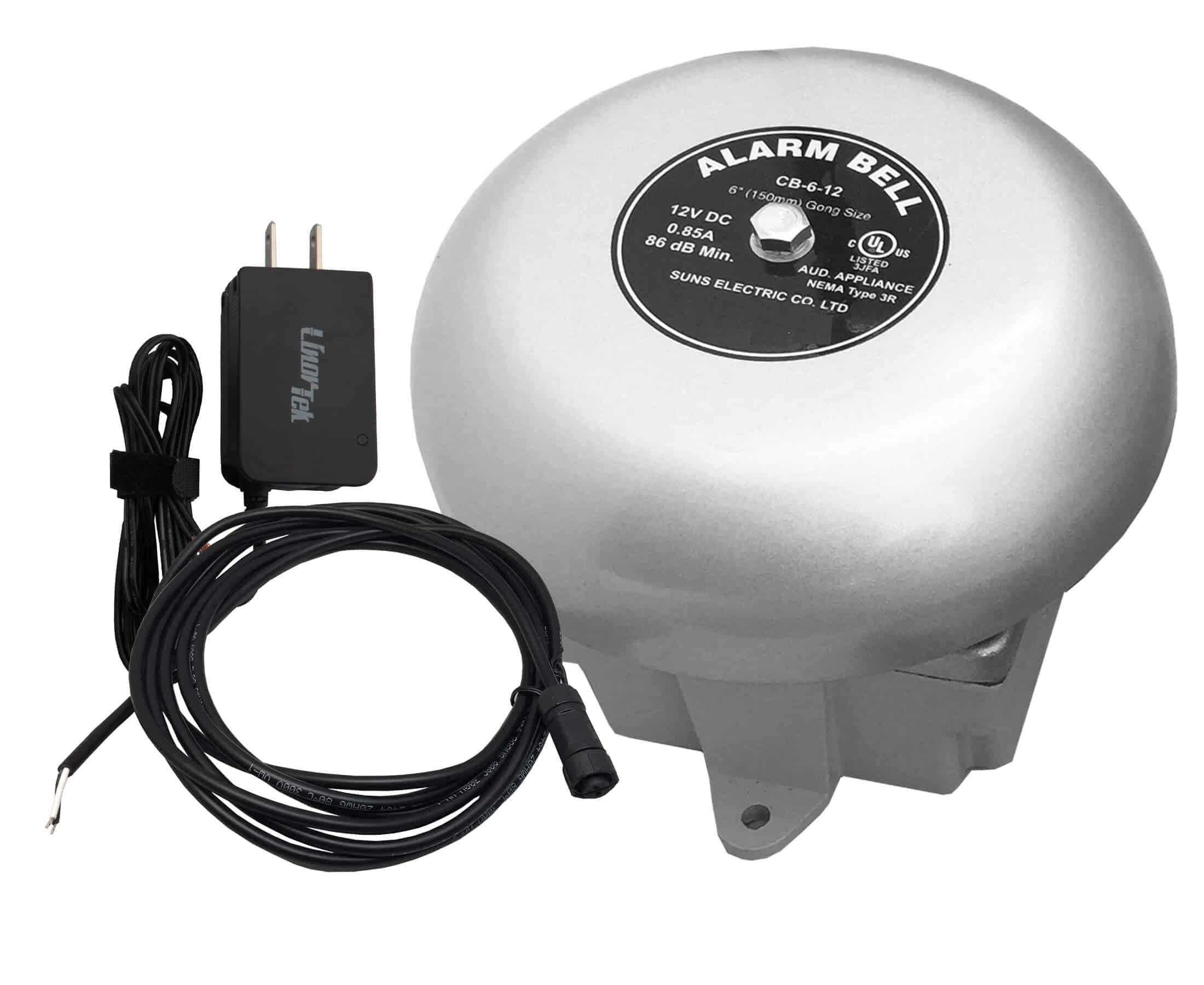Linortek Netbell-K External Bell Kit: 6 inch Signal Bell with Weatherproof Back Box and Power Supply with CP Connector Bell Cable