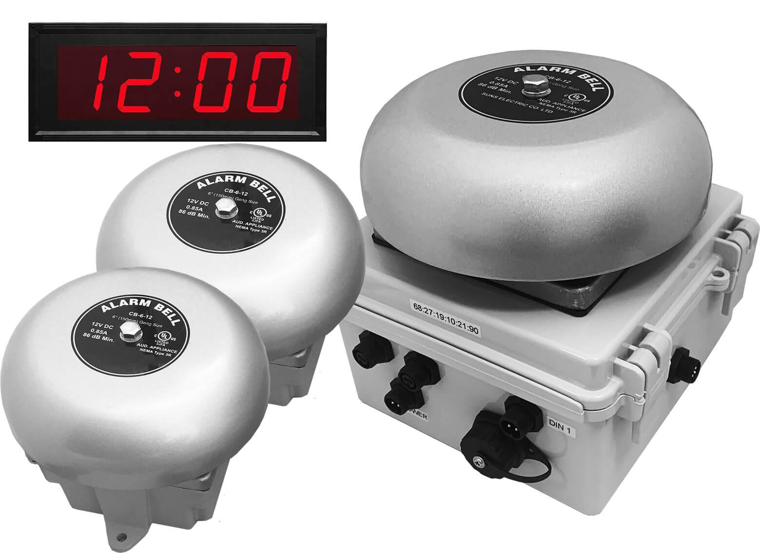 Netbell-K-E2M-C Network All-in-One Break Bell Clock System (3 Bells System)